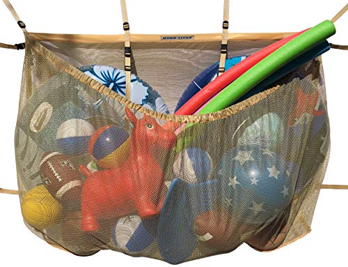 MESH TITAN Hanging Pool Storage Bag, Beige - Adjustable, Versatile Organizer Bag Pool, Fence, Deck, Garage, Gym - 60