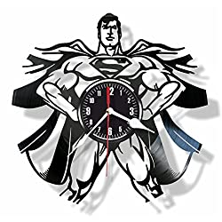 Superman Comics character superhero vinyl wall clock- Modern room decor - Unique Handmade gift for friends and someone you love