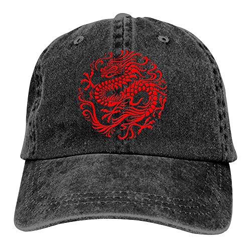 Traditional Red Chinese Dragon Circle Unisex Baseball Caps Adjustable Cowboys Hat