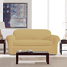 DyFun 2-Piece Jacquard Spandex Stretch Dining Room Sofa Slipcovers (Loveseat, Beige)