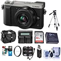 Panasonic Lumix DMC-GX85 Mirrorless Camera with Lumix G Vario 12-32mm f/3.5-5.6 ASPH Lens, Silver - Bundle with Camera Case, 32GB SDHC Card, Spare Battery, Tripod, Dual Charger, Software Pack and More