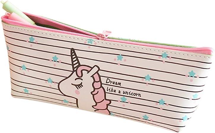 YeahiBaby Estuche de lápices Unicornio Papelería Kawaii Estuche de lápices Estuches de Pluma Estuches Escolares de Oficina (Patrón de Franjas): Amazon.es: Hogar