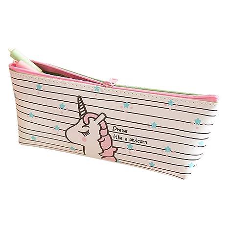 YeahiBaby Estuche de lápices Unicornio Papelería Kawaii Estuche de lápices Estuches de Pluma Estuches Escolares de Oficina (Patrón de Franjas)