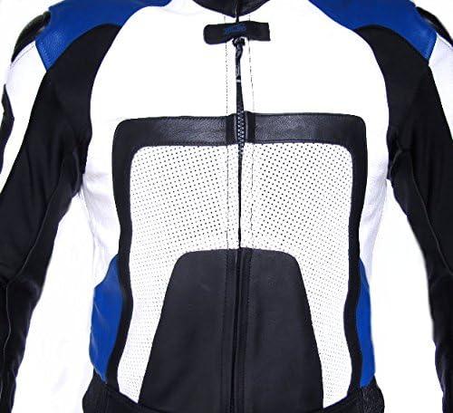 XLS Blue Carbon Lederkombi in Kurzgr/ö/ße schwarz blau