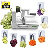 Spiralizer Ultimate 7-Blade Vegetable Slicer, Strongest-and-Heaviest Duty Vegetable Spiral Slicer, Best Veggie Pasta Spaghetti Maker for Keto/Paleo/Gluten-Free, With Extra Blade Caddy & 4 Recipe Ebook