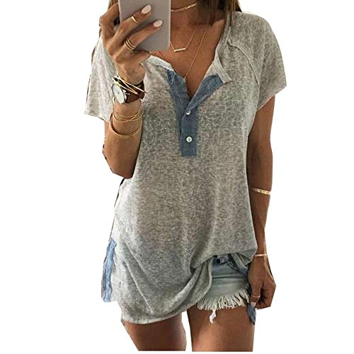 (Sunhusing Price!Women's Button Buckle Casual Short Sleeve T-Shirt Neckline Patchwork Tops (M, Gray))