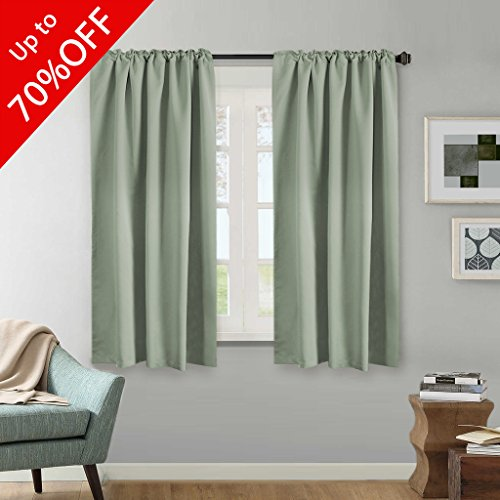 H.VERSAILTEX Blackout Thermal Insulated Curtains Pair, Back Tab/Rod Pocket Thermal Insulated Window Draperies - 52x63 Inch - Solid (Pocket Sage)