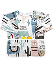 Qilmy Llama Painting Apron for Kids Waterproof Children Art Smock with Pockets for Age 4-6 Years