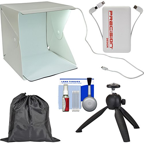 Precision Design PD-PLB1 LED Portable Light Box Photography Studio with 5000mAh Power Bank + Tabletop Tripod + Pouch + Kit