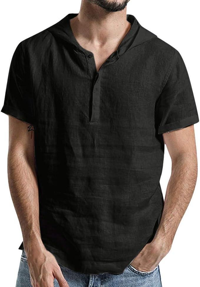 Camisetas con Capucha Rebajas Yvelands Verano de Hombre Baggy Algodón de Lino SOID Color Tops de Manga Corta Camisa de Trabajo: Amazon.es: Ropa y accesorios