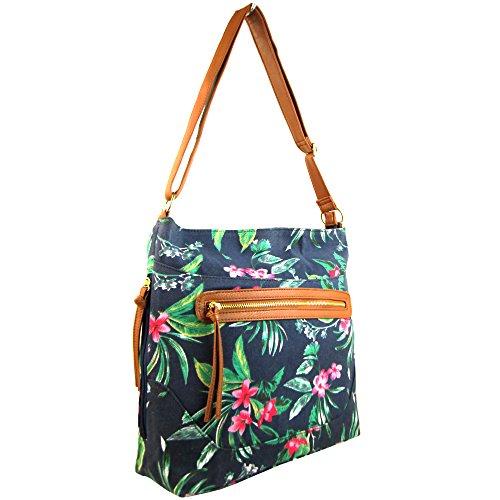 A4 Strap Navy Tropical NEW Zarla Long Across Ladies body Women Large Satchel UK Shoulder Handbag Bag n10qfF