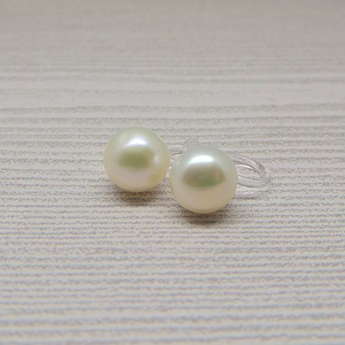 Clip On Earrings 6mm Button Shaped Cultured Freshwater Pearl for Non-Pierced Ears, Ivory