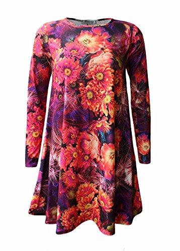Donna Brust Camicia Lunghe Maniche Flower ComfiestyleVestito 3A4Lq5Rj
