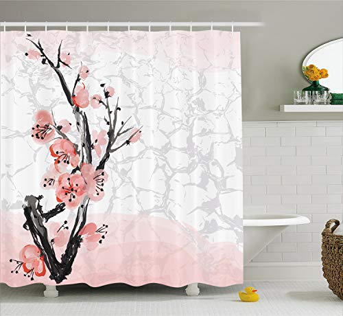Ambesonne Floral Shower Curtain by, Japanese Cherry Blossom Sakura Tree Branch Soft Pastel Watercolor Print, Fabric Bathroom Decor Set with Hooks, 70 Inches, Coral Light Pink ()