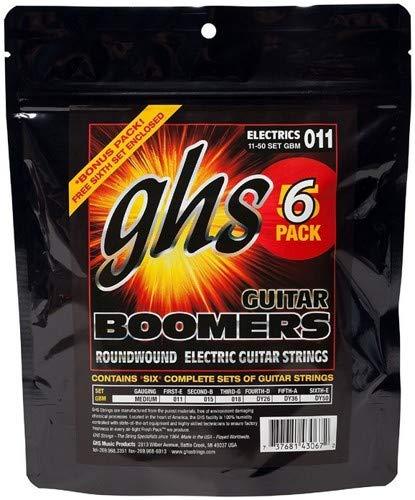 GHS GBM-5 Guitar Boomers Electric Guitar Strings - .011-.050 Medium 6-pack