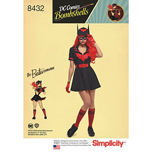 Simplicity Pattern 8432 H5 Misses' DC Comics Bombshell Batwoman Costume Sewing Pattern, Size -