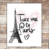 paris themed bedrooms Paris Wall Art Print - Unframed - 8x10 | Eiffel Tower Decor