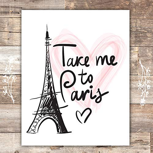 Paris Wall Art Print - Unframed - 8x10 | Eiffel Tower Decor (Decor Bedroom Paris)