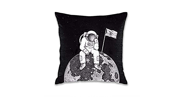 FEDDIY Outdoor Square Throw Pillow Covers Garden Astronaut Space Animals Cushion Case for Patio Couch Sofa Polyester Home Decoration 16x 16
