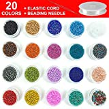 2mm Glass Seed Beads - Small Craft Bead Kit for Making Diy Bracelets, Necklaces, Earrings, Key chain, Jewelry . 20 Colors , Approx 20000 Pcs Colorful Tiny Beads with Beading Cord and Needle