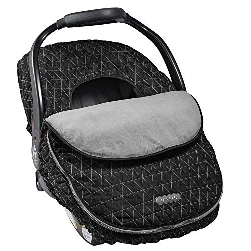 Stitch Insulated Jacket - JJ Cole - Car Seat Cover, Weather Resistant Blanket-Style Canopy Designed to Protect from the Cold and Winter Weather, Black Tri Stitch, Birth and Up