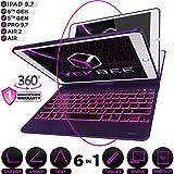 iPad Keyboard Case for iPad 2018 (6th Gen) - iPad 2017 (5th Gen) - iPad Pro 9.7 - iPad Air 2 & 1 - Thin & Light - 360 Rotatable - Wireless BT - Backlit 10 Color - iPad Case with Keyboard (Violet)