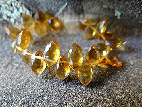 Madeira Citrine | Faceted Marquise Briolette Beads | 7x4-9x5mm | Sets of 4, Sets of 8 by Gemswholesale