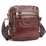 Contacts Genuine Leather Men Messenger Crossbody Shoulder Bag Travel Handbag Brown