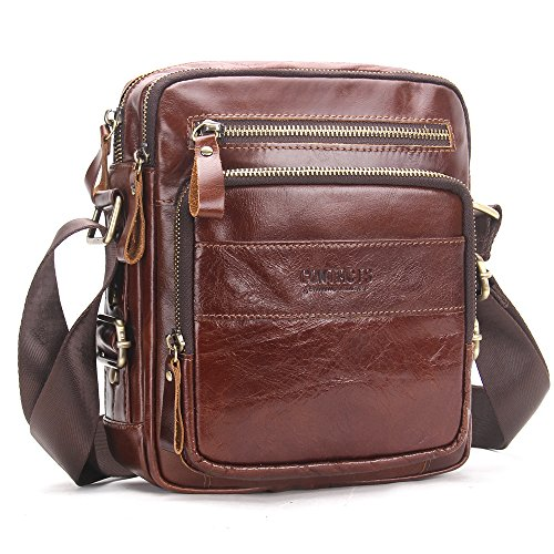 Contacts Genuine Leather Men Messenger Crossbody Shoulder Bag Travel Handbag Brown