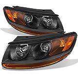 Fits Santa Fe Black Headlights Head Lamps Driver Left + Passenger Right Side Replacement Pair Set