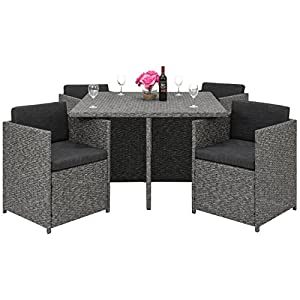 space saving patio furniture. Best Choice Products Space Saving Outdoor Patio Furniture 5-Piece Wicker Dining Set- Dark Gray P
