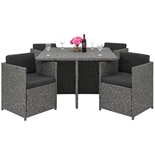 Best Choice Products Space Saving Outdoor Patio Furniture 5-Piece Wicker Dining Set- Dark Gray