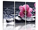 NAN Wind Zen Art Wall Decor Modern 3 Panel Stretched and Framed Spa Stones and Orchid on the Water Pictures on Canvas Wall Art for Home Office Decorations Living Room Bedroom