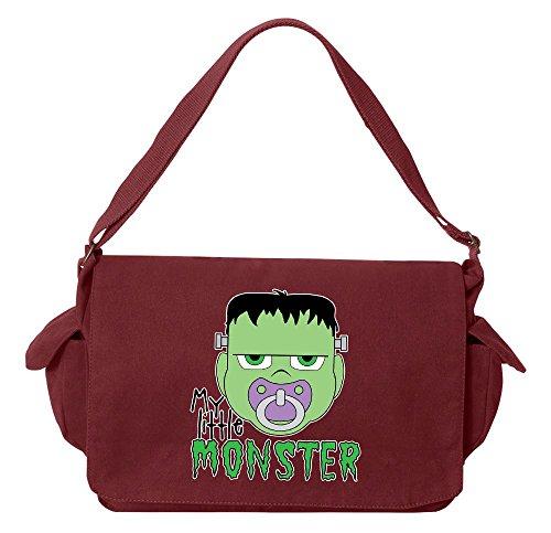 Monster Carrying Man Costume (Tenacitee My Little Monster Frankenstein Maroon Brushed Canvas Messenger Bag)