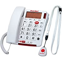FIRST ALERT SFA3800 Big Button Corded Telephone with Emergency Key & Remote Pendant