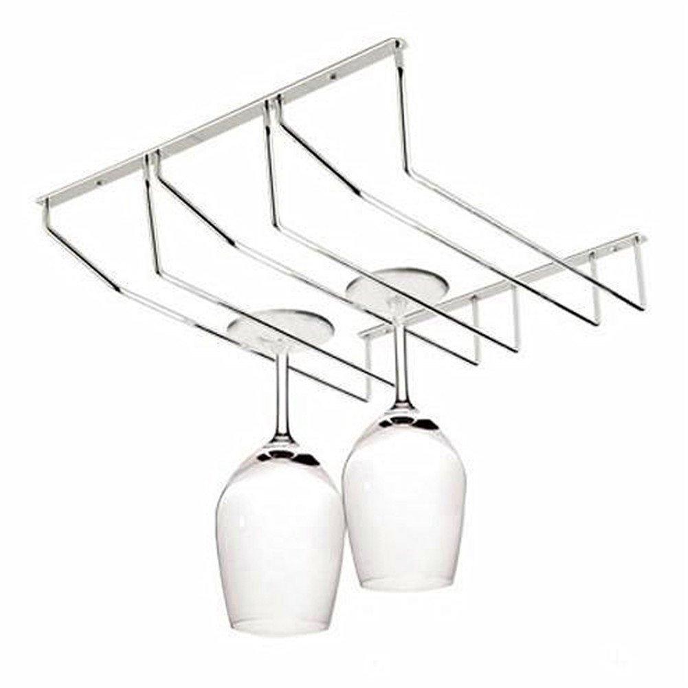 Three Rows Stainless Steel Under Cabinet Champagne Wine Stemware Holder Hanger Display Storage Rack