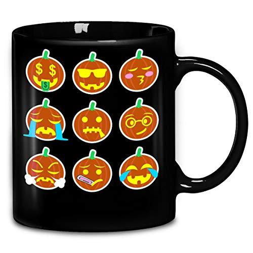 Emoji Pumpkin Face Halloween Funny T-Shirt Coffee Mug 11oz & 15oz Gift Tea Cups]()