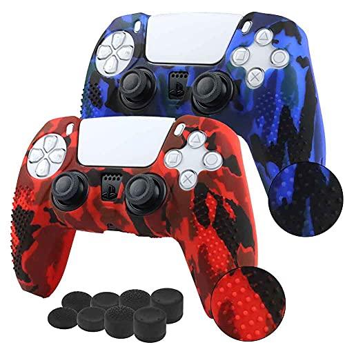 2 fundas + 8 grips para control playstation 5