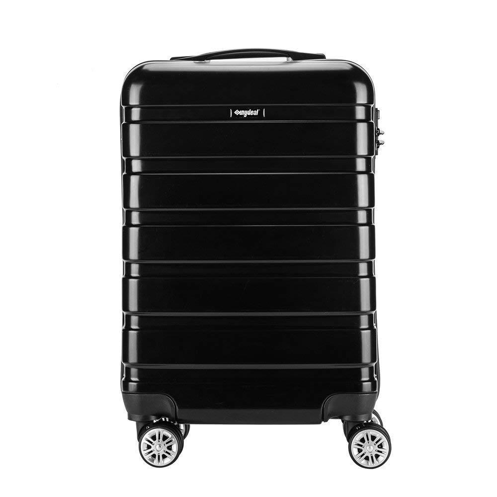 Amasava Valise Transport Bagage Cabine Valise en PC Ultra lé ger 5 Couleurs Valise Rigide 4 roulettes Double multidirectionnelles 43L/55CM, Noir