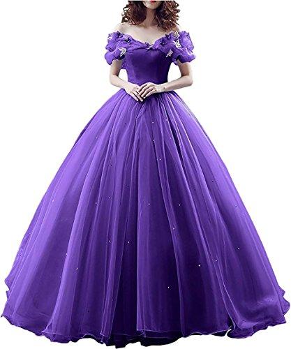 Yinyyinhs Au Large Des Robes De Mariée Robe De Bal De L'épaule Robe De Soirée Violette De De La Robe De Bal Des Femmes De Cendrillon