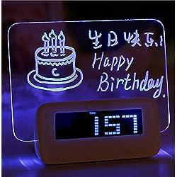 SCJS Alarm Clock Led Fluorescent Message Board Alarm Clock Good Time Luminous Luminous Lazy Student Music Alarm Clock