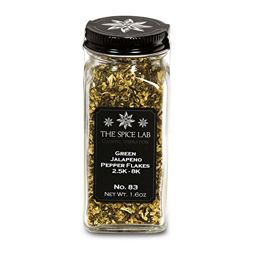 The Spice Lab No. 83 - Green Jalapeno Pepper Flakes, French Jar - All Natural Kosher Non GMO Gluten Free