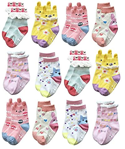 Deluxe Anti Non Skid Slip Animal Crew Socks With Grips For Baby Toddler Girls (12-24 months, 12-pairs/assorted 3)