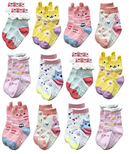 Deluxe Anti Non Skid Slip Animal Crew Socks With Grips For Baby Toddler Girls (9-18 months, 12-pairs/assorted 3)