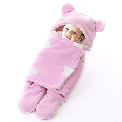 RainBabe Saco de Dormir Manta para Bebé Recién Nacido Peleles Infantiles con Sentido Confortable Swaddle Wrap