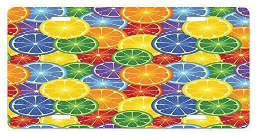 zaeshe3536658 Abstract License Plate, ColorfuSlices of Orange TropicaFruit Rainbow Color Fun ArtfuDesign, High Gloss Aluminum Novelty Plate, 6 X 12 Inches, YelloBlue Green