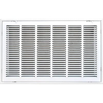 """METAL-FAB MFRFG3012W 30"""" X 12 Steel Return Air Filter Grille for 1"""" Filter HVAC DUCT COVER - Flat Stamped Face - White [Outer Dimensions: 32.5""""w X 14.5""""h]"""
