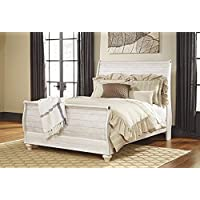Willannet Casual Whitewash Color Wood Queen Sleigh Bed