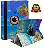 iPad Case Fit 2018/2017 iPad 9.7 6th/5th Generation - 360 Degree Rotating iPad Air Case Cover with Auto Wake/Sleep Compatible with Apple iPad 9.7 Inch 2018/2017 (Coconut Trees)