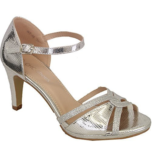 CHC Ladies Stiletto Heel Sandals Womens Open Toe Diamante Bridesmaid Wedding Party Silver - Wt56 CqwT7JRN